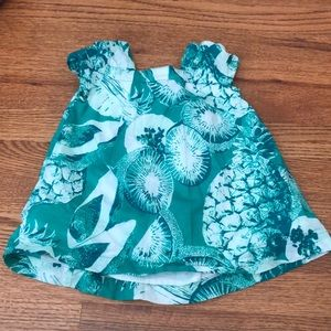 Gap 12-18m green and white dress